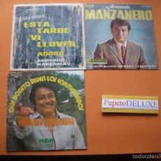 Discos de vinilo: ARMANDO MANZANERO (3 SG ) ESTA TARDE VI LLOVER/ADORO SINGLE SPAIN 1967 PDELUXE. Lote 57062614