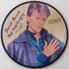 Discos de vinilo: DAVID BOWIE,BOYS KEEP SWINGING.SINGLE IMPRESO PROMOCIONAL CON FUNDA BLANCA RCA.PICTURE DISC ESPAÑA. Lote 57074443