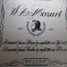 Discos de vinilo: MOZART CONCIERTO PARA PIANO Y ORQUESTA, VIOLÍN Y ORQUESTA. Lote 57084943