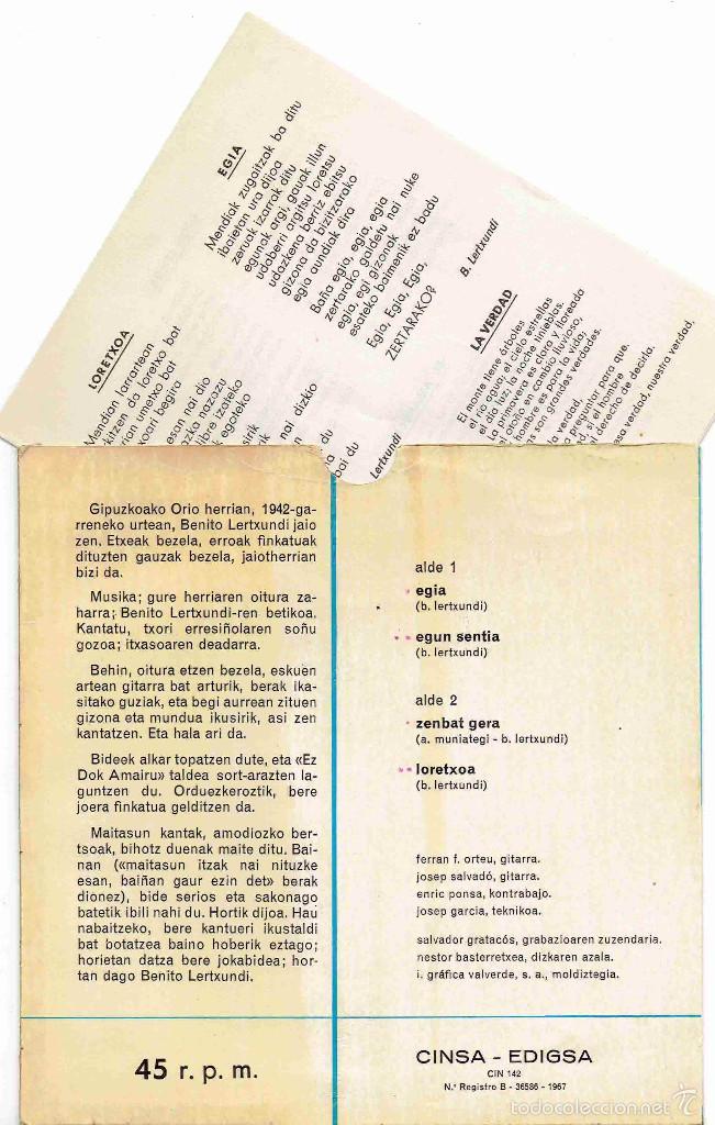 Discos de vinilo: BENITO LERTXUNDI EZ DOK AMAIRU Egia + 3 EP CINSA EDIGSA 1967 @ COMO NUEVO + HOJA INTERIOR TEXTOS - Foto 2 - 57114097