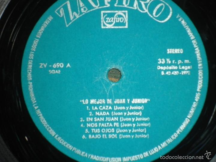 Discos de vinilo: JUAN & JUNIOR - LO MEJOR DE LP - EDICION ESPAÑOLA - ZAFIRO RECORDS 1972 - STEREO- - Foto 10 - 57115564