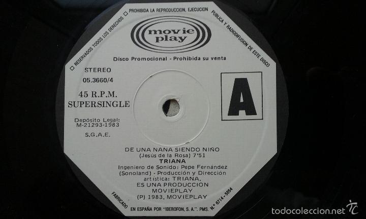 Discos de vinilo: TRIANA RARO MAXI PROMO 'DE UNA NANA SIENDO NIÑO' 1983 - Foto 3 - 57138805
