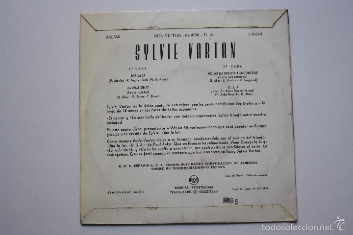 Discos de vinilo: SYLVIE VARTAN- SHA LA LA +3- SPANISH EP 1965- VINILO EN BUEN ESTADO. - Foto 2 - 57152725