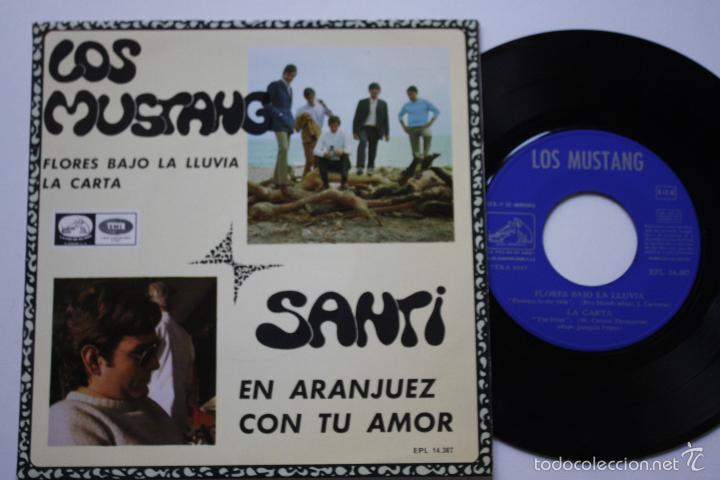 LOS MUSTANG- FLORES BAJO LA LLUVIA +2- EP 1967- FIRMADO POR MIGUEL NAVARRO BAJISTA ORIGINAL.. (Música - Discos de Vinilo - EPs - Grupos Españoles 50 y 60)