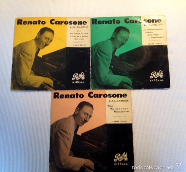 [LOTE DE CONJUNTO: ] 3 EP DE RENATO CAROSONE Y SU CUARTETO (TODOS 1958); VER TÍTULOS. (Música - Discos de Vinilo - EPs - Canción Francesa e Italiana)