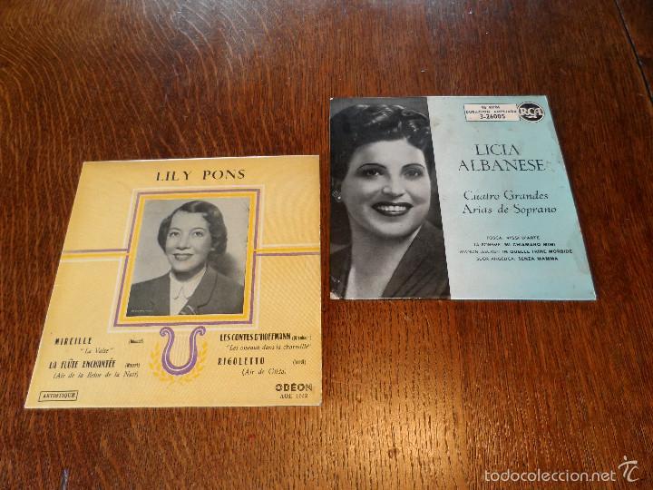 LILY PONS Y LICIA ALBANESE, 2 GRANDES DE LA ÓPERA. 2 EPS, 45 RPM, ODEÓN Y R.C.A. (Música - Discos de Vinilo - EPs - Clásica, Ópera, Zarzuela y Marchas)