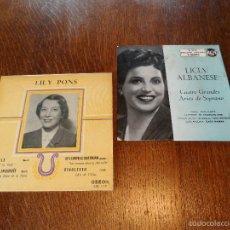 Discos de vinilo: LILY PONS Y LICIA ALBANESE, 2 GRANDES DE LA ÓPERA. 2 EPS, 45 RPM, ODEÓN Y R.C.A.. Lote 57263373