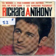 Discos de vinilo: RICHARD ANTHONY / CE MONDE + 3 (EP 1964). Lote 57269367