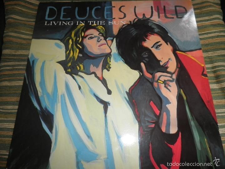 DEUCES WILD - LIVING IN THE SUN LP - ORIGINAL HOLANDES - COLUMBIA 1991 CON FUNDA INT. ORIGINAL (Música - Discos - LP Vinilo - Pop - Rock - New Wave Extranjero de los 80)
