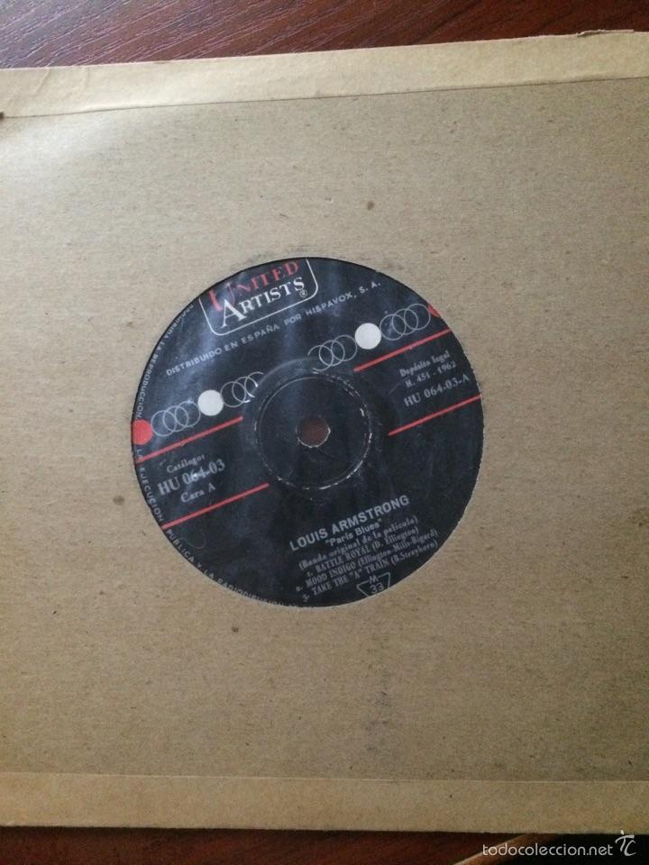 LOUIS ARMSTRONG-PARIS BLUES-EP-PORTADA RADIO-SIN USO (Música - Discos de Vinilo - EPs - Jazz, Jazz-Rock, Blues y R&B)