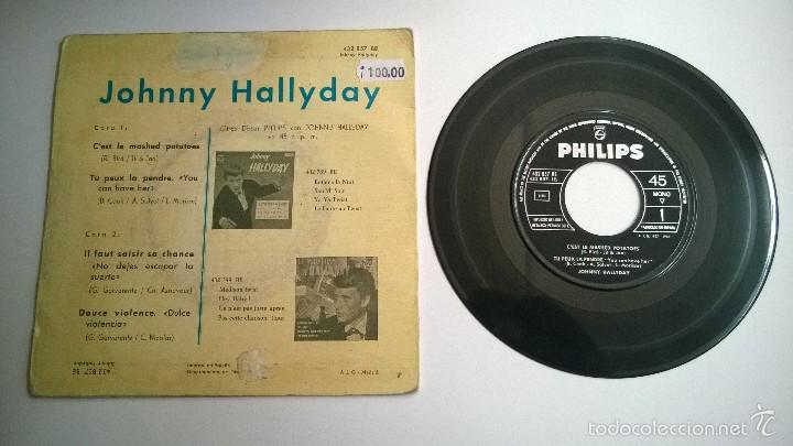 Discos de vinilo: Johnny Hallyday.Cést le mashed potatoes.EP.ESPAÑA 1963.PHILIPS. - Foto 2 - 57361835