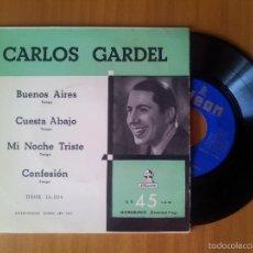 Discos de vinilo: CARLOS GARDEL - BUENOS AIRES - EDICIÓN DE ESPAÑA--ODEON 1954. Lote 57371651