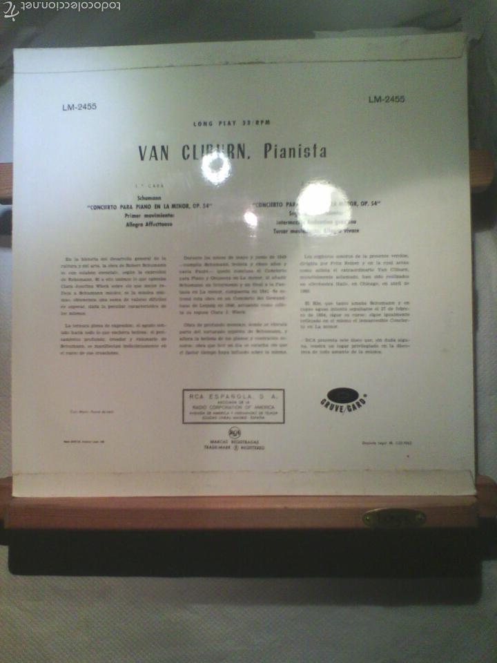 Discos de vinilo: Disco De Vinilo VAN CLIBURN / SCHUMANN - Sinfonía En La Menor, Op 54 (España, 1962) - Foto 2 - 57373076
