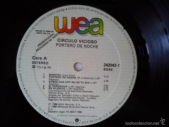 Discos de vinilo: CIRCULO VICIOSO -PORTERO DE NOCHE- (1986) LP DISCO VINILO - Foto 3 - 57388080