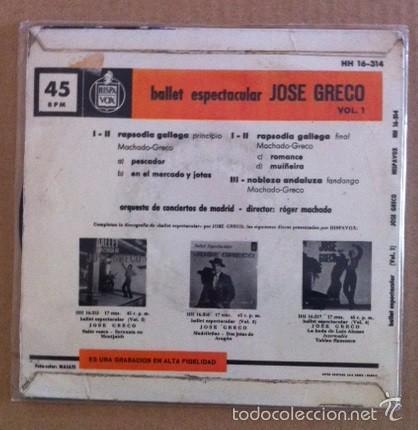 Discos de vinilo: JOSÉ GRECO - BALLET ESPECTACULAR - RAPSODIA GALLEGA - 1962 - Foto 2 - 57393965