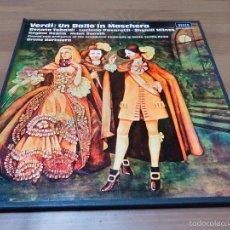 Discos de vinilo: VERDI UN BALLO IN MASCHERA RENATA TEBALDI LUCIANO PAVAROTTI TRIPLE LP CAJA VINILO CLASICA V4I. Lote 57442838