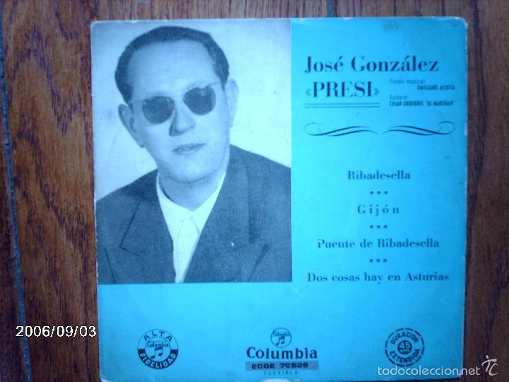 JOSE GONZALEZ - PRESI - RIBADESELLA + 3 (Música - Discos de Vinilo - EPs - Étnicas y Músicas del Mundo)