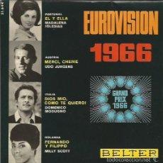 Discos de vinilo: EUROVISION 1966 EP SELLO BELTER AÑO 1966 EDITADO EN ESPAÑA FESTIVAL DE EUROVISION . Lote 57471677