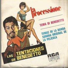 Discos de vinilo: BANDA SONORA FILM LAS TENTACIONES DE BENEDETTO SINGLE SELLO RCA VICTOR AÑO 1973 EDITADO EN ESPAÑA . Lote 57472168