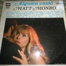 Discos de vinilo: MATT MONRO - ALGUIEN CANTO LP - ORIGINAL ESPAÑOL - EMI / CAPITOL RECORDS 1969 - STEREO -. Lote 60039098