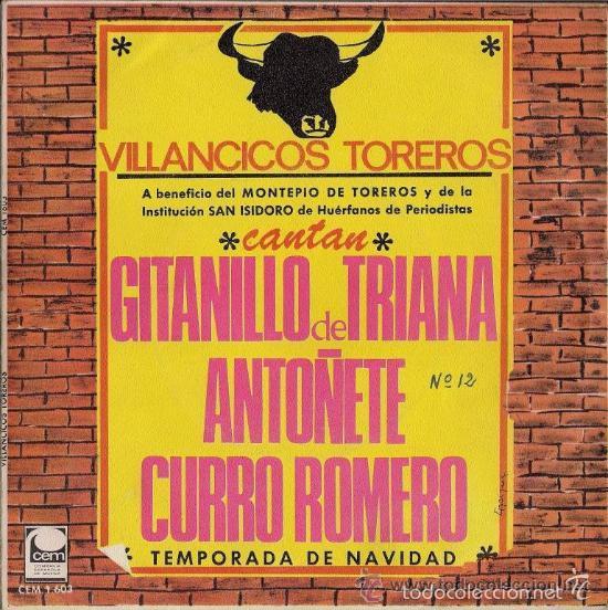 AUTOGRAFIADO - VILLANCICOS TOREROS - GITANILLO DE TRIANA, ANTOÑETE Y CURRO ROMERO (Música - Discos - Singles Vinilo - Flamenco, Canción española y Cuplé)
