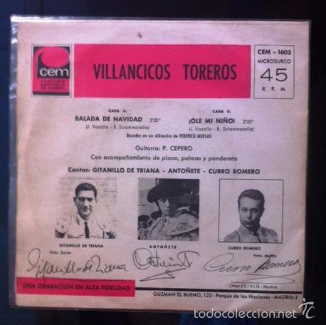 Discos de vinilo: AUTOGRAFIADO - VILLANCICOS TOREROS - GITANILLO DE TRIANA, ANTOÑETE Y CURRO ROMERO - Foto 2 - 26952553