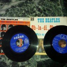 Discos de vinilo: DOS VINILOS.THE BEATLES.ORIGINALES.OB,LA DI,OB LA DA(1969).A HARD DAYS NIGHT(1964). Lote 57618142