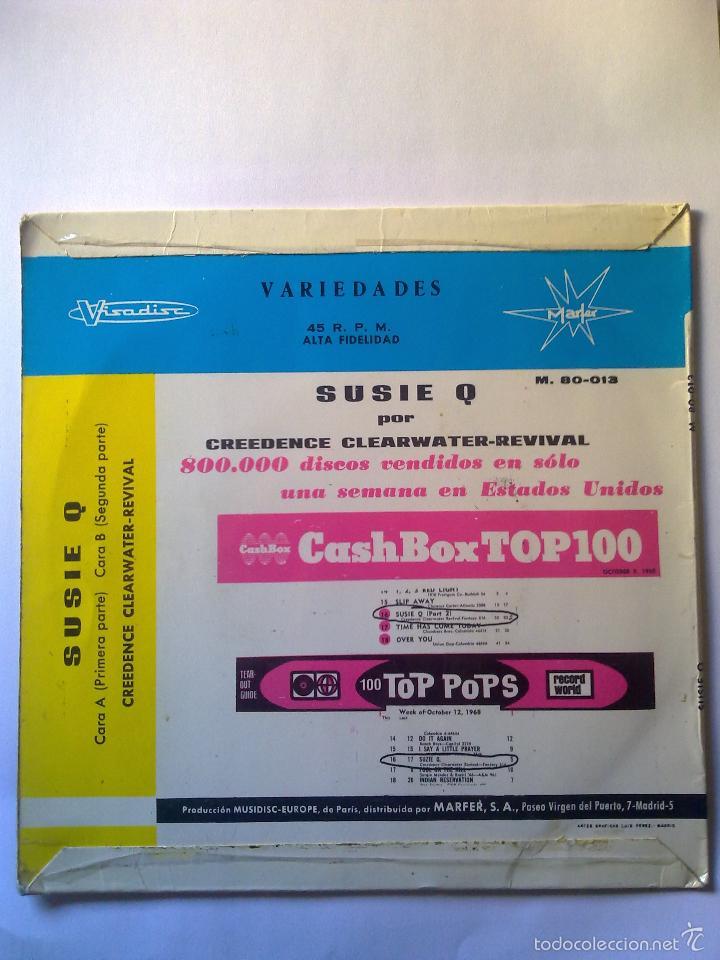 Discos de vinilo: creedence clearwater revival: suzie q - 7 45 rpm (Visadisc M.80-013, Spain, 1968) - Foto 2 - 47262385
