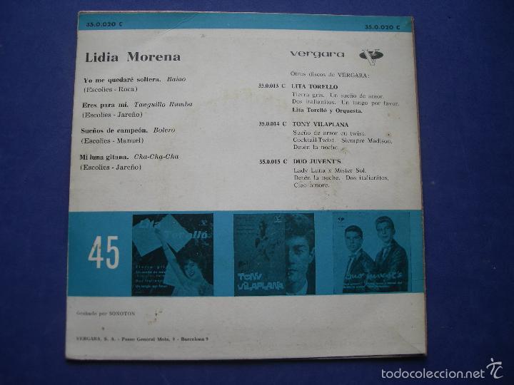 Discos de vinilo: LIDIA MORENA - YO NO ME QUEDARE SOLTERA - SUEÑOS DE CAMPEON + 2 - EP SPAIN 1962 PEPETO - Foto 2 - 57671793
