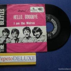 Discos de vinilo: THE BEATLES HELLO GOODBYE / I AM THE WALR SINGLE BELGICA 1967 PDELUXE. Lote 57672402