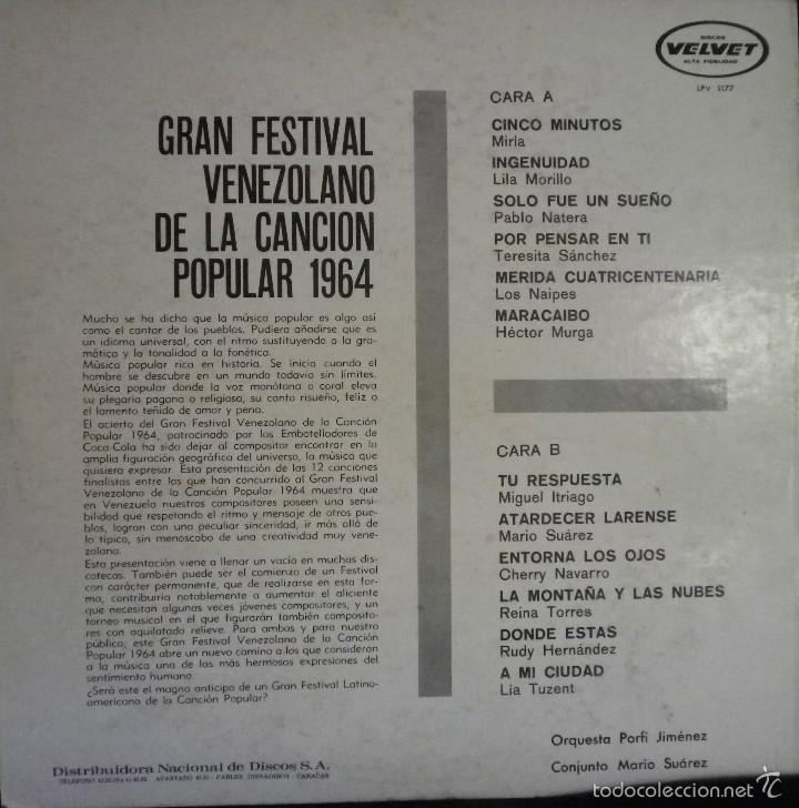 Discos de vinilo: Gran Festival Venezolano de la Canción Popular 1964 - Foto 2 - 57692967