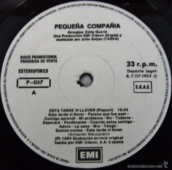 Discos de vinilo: PEQUEÑA COMPAÑIA - ESTA TARDE VI LLOVER - MAXI ESPECIAL 33 RPM - EMI 1985- PROMO RARE VINILO MINT - Foto 2 - 57707787