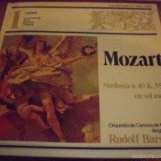 Discos de vinilo: LP DE MOZART. SINFONIA Nº 40. RUDOLF BARSHAI. ORQUESTA DE CAMARA DE MOSCOU. EDICION SARPE DE 1980.. Lote 57735684