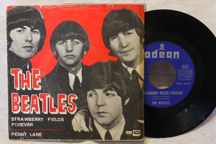 Discos de vinilo: THE BEATLES SINGLE STRAWBERRY FIELDS FOREVER PENNY LANE VINYL DSOL 66.077 MADE IN SPAIN 1967 - Foto 2 - 57819434
