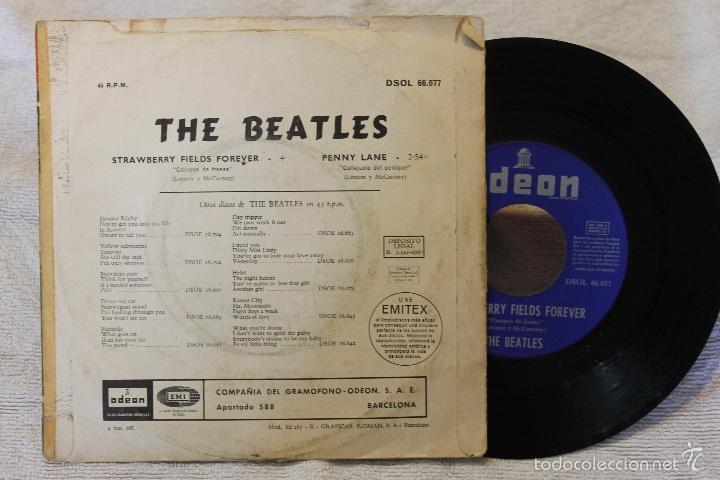 Discos de vinilo: THE BEATLES SINGLE STRAWBERRY FIELDS FOREVER PENNY LANE VINYL DSOL 66.077 MADE IN SPAIN 1967 - Foto 3 - 57819434