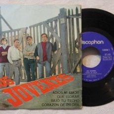 Discos de vinilo: LOS JOVENES EP ADIOS MI AMOR , QUE LLORAS, BAJO TU TECHO, CORAZON DE PIEDRA VINIL MADE IN SPAIN 1965. Lote 57819893
