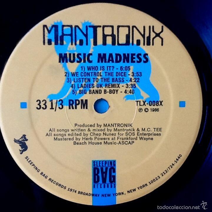 Discos de vinilo: MANTRONIX : MUSIC MADNESS [USA 1986] LP/1st EDITION - Foto 3 - 56557229
