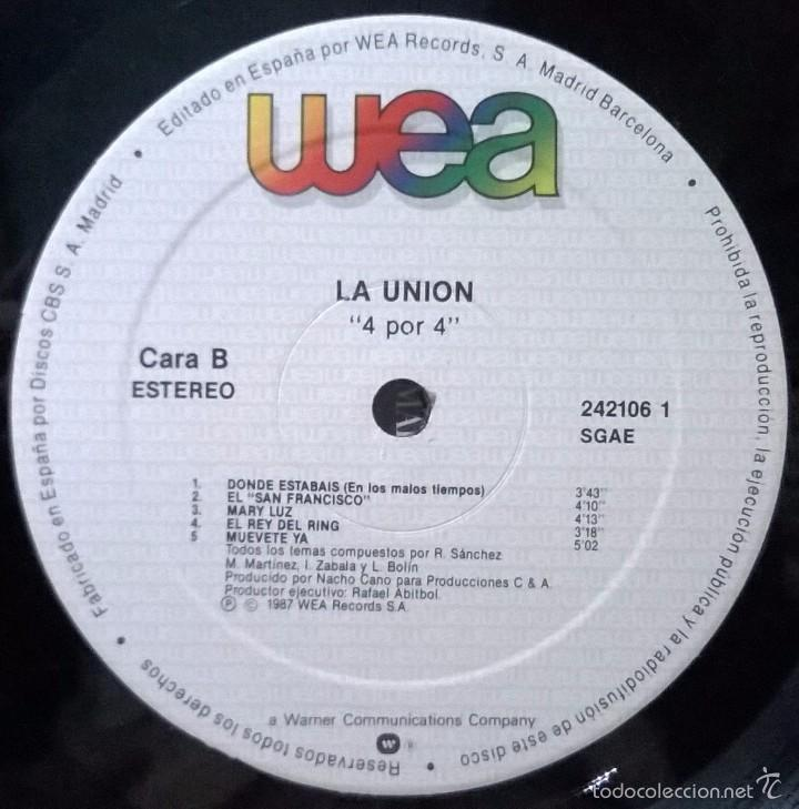 Discos de vinilo: La Union-4x4, WEA-242106-1 - Foto 4 - 57838089