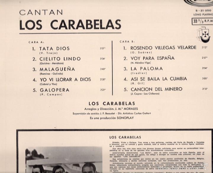 Discos de vinilo: LOS CARABELAS : Cantan. (Arreglos y dir.: J. Mª Morales. LP. Sonoplay, 1968) - Foto 2 - 57866716