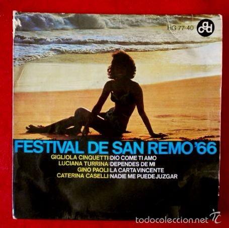 FESTIVAL DE SAN REMO 66 (SOLO PORTADA / FUNDA SIN DISCO) GIGLIOLA CINQUETTI -EP (TAMBIEN SE REGALA) (Música - Discos de Vinilo - EPs - Otros Festivales de la Canción)