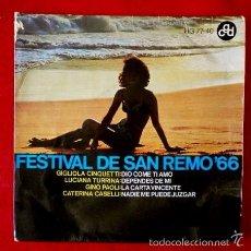 Discos de vinilo: FESTIVAL DE SAN REMO 66 (SOLO PORTADA / FUNDA SIN DISCO) GIGLIOLA CINQUETTI -EP (TAMBIEN SE REGALA). Lote 57889084