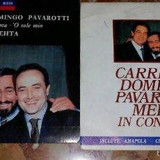 Discos de vinilo: LOTE DE DOS SINGLE DE CARRERAS DOMINGO PAVAROTTI. Lote 57893440
