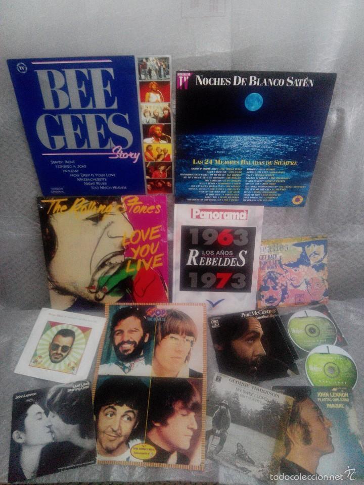 LOTE AÑOS REBELDES 70' LIBRO + VINILOS BEATLES, STONE, BEE GEES + REGALO CASSETTE Y POSTER (Música - Discos de Vinilo - EPs - Pop - Rock Extranjero de los 70)