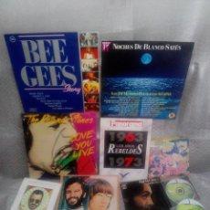 Discos de vinil: LOTE AÑOS REBELDES 70 LIBRO + VINILOS BEATLES, STONE, BEE GEES + REGALO CASSETTE Y POSTER. Lote 57922724