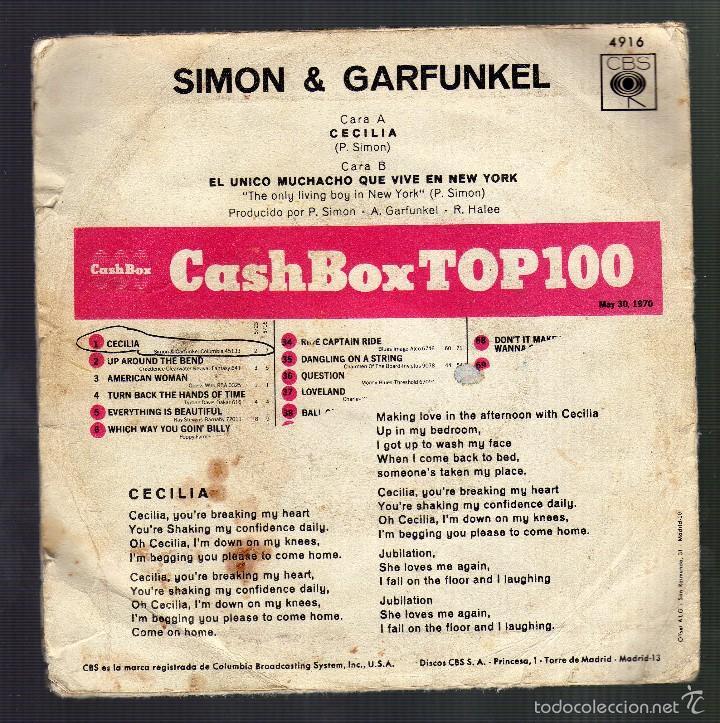 Discos de vinilo: SIMON Y GARFUNKEL - Cecilia / The only living boy in New York · Cbs, 1970 - - Foto 2 - 57923600