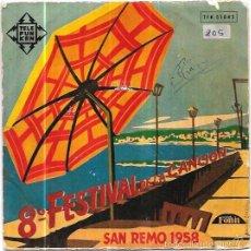 Discos de vinilo: SINGLE. 8º FESTIVAL DE LA CANCION. SAN REMO 1958. L´EDERA. GIURO D´AMARTI COSI. NEL DIPINTO DI BLU. . Lote 57950912