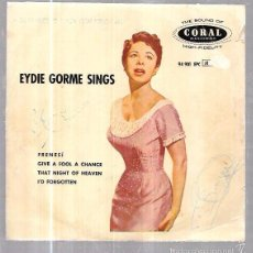 Discos de vinilo: SINGLE. EYDIE GORME SINGS. FRENESÍ, GIVE A FOOL A CHANCE, I´D FORGOTTEN.. Lote 192874516