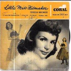Discos de vinilo: SINGLE. LITTLE MISS HITMAKER. TERESA BREWER. A TEAR FELL. BO WEEVIL. GOODBYE, JOHN. A SWEET OLD FASH. Lote 57953645