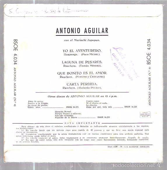 Discos de vinilo: SINGLE. ANTONIO AGUILAR. CON EL MARIACHI ZAPOPAN. YO EL AVENTURERO. LAGUNA DE PESARES. - Foto 2 - 57954835