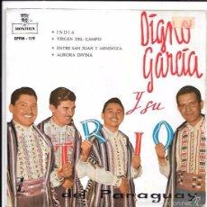 Discos de vinilo: SINGLE. DIGNO GARCÍA Y SU TRIO DEL PARAGUAY. INDIA, VIRGEN DEL CAMPO, ENTRE SAN JUAN Y MENDOZA.. Lote 57955304